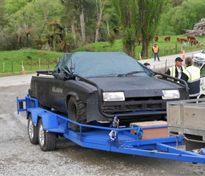 15. Camera vehicle arriving at the film location Piopio Waitomo