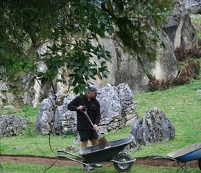 Warrick Denize building walking track at Hobbit film site