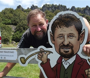 Warrick the hobbit at Hairy Feet Waitomo